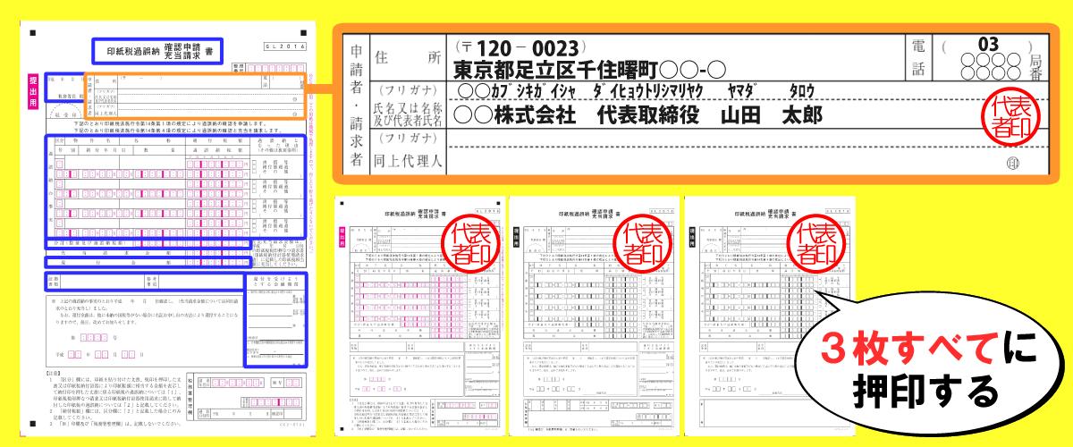 印紙税過誤納確認申請書3枚すべてに押印