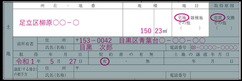 土地の情報の記入例「所在・地番・地積・地目」