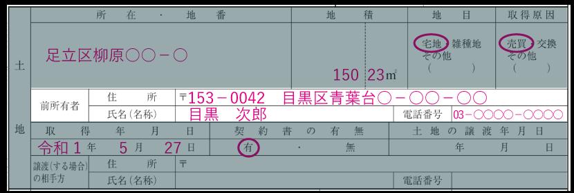 土地の情報の記入例「前所有者の住所・氏名・電話番号」