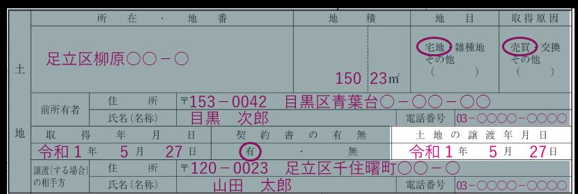 土地の情報の記入例「土地の譲渡年月日」