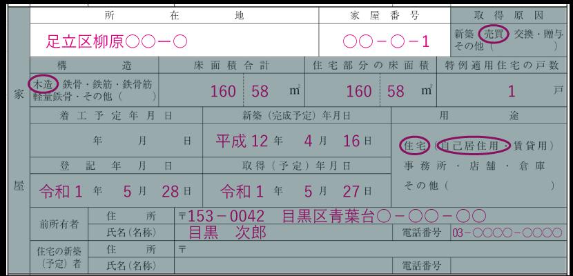 家屋の情報の記入例「所在地・家屋番号」