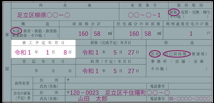 家屋の情報の記入例「着工予定年月日」