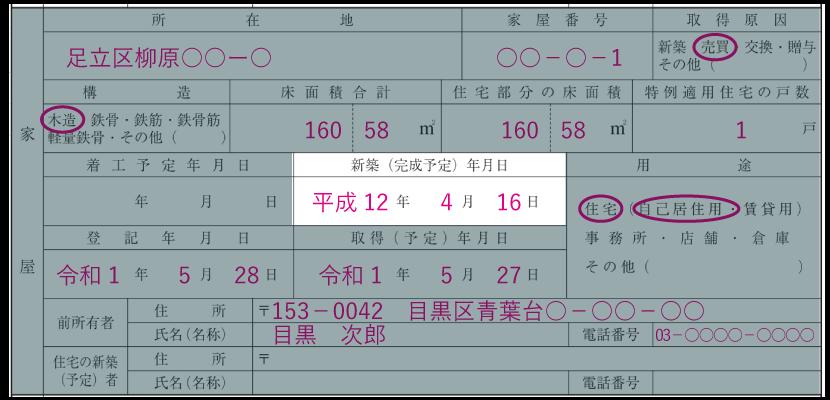 家屋の情報の記入例「新築(完成予定)年月日」