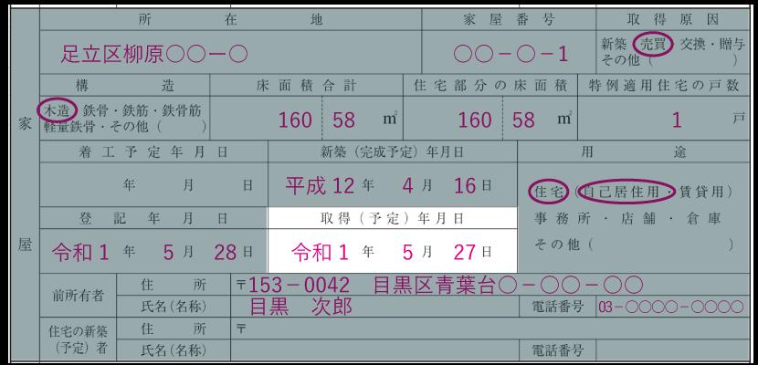 家屋の情報の記入例「取得予定年月日」