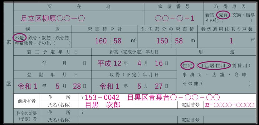 家屋の情報の記入例「前所有者の住所・氏名・電話番号」