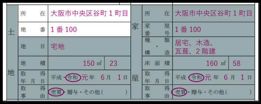 土地の情報の記入例「所在・地番」