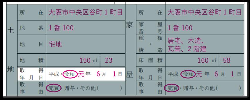 土地の情報の記入例「取得年月日」