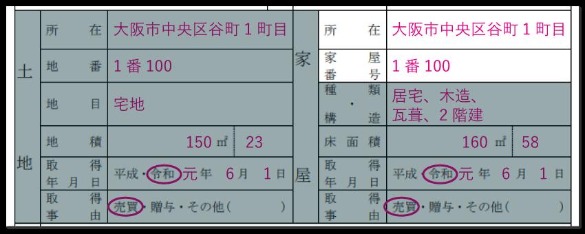 家屋の情報の記入例「所在・家屋番号」
