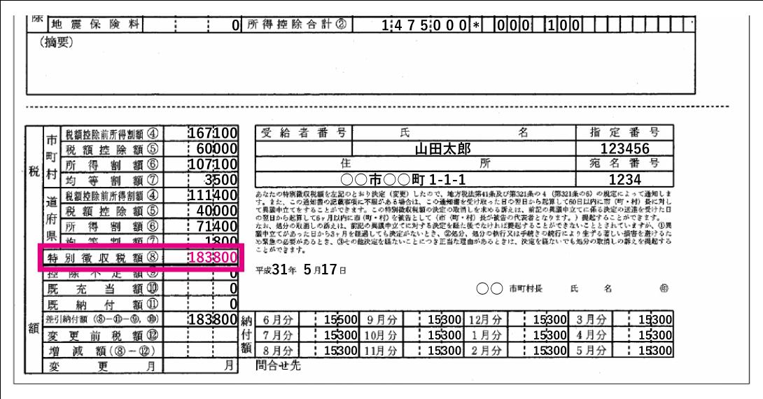 住民税決定通知書「特別徴収税額」