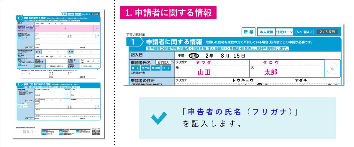 すまい給付金給付申請書「1.申請者に関する情報」の申請者氏名