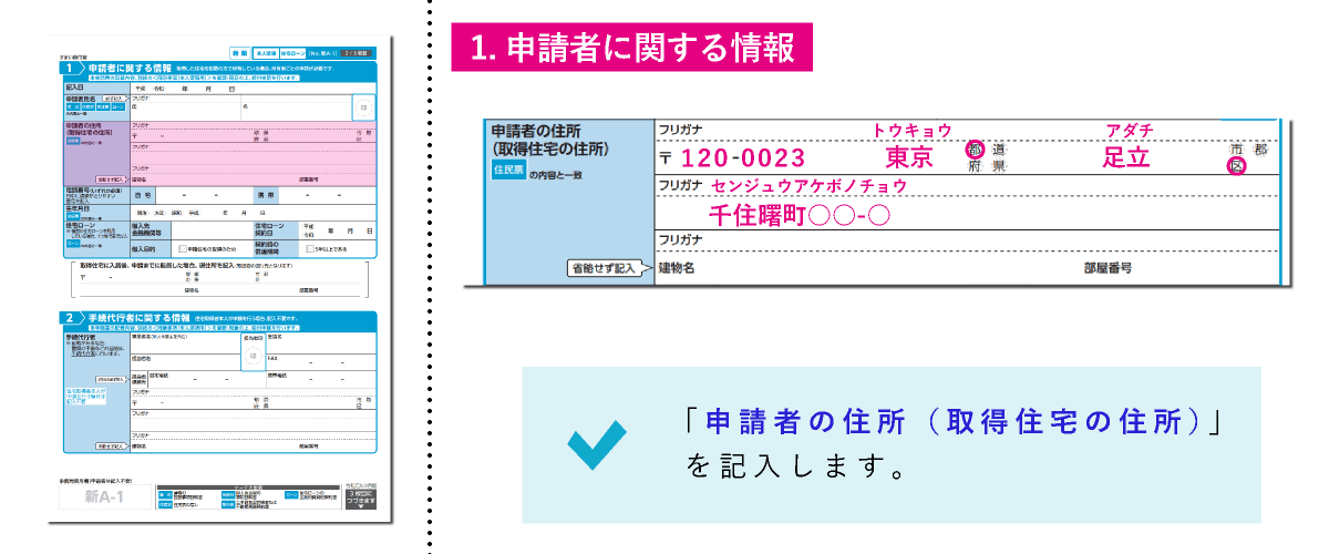 すまい給付金給付申請書「1.申請者に関する情報」の申請者の住所(取得住宅の住所)