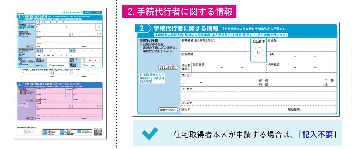 すまい給付金給付申請書「2.手続代行者に関する情報」