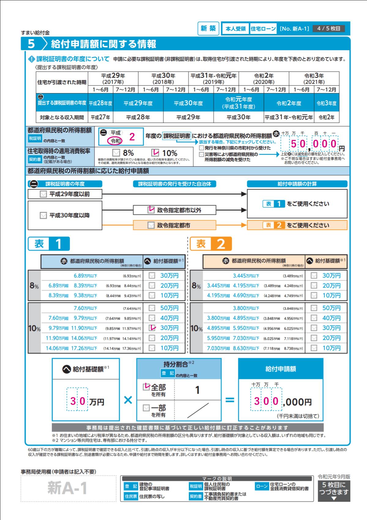 すまい給付金給付申請書の記入例の見本③