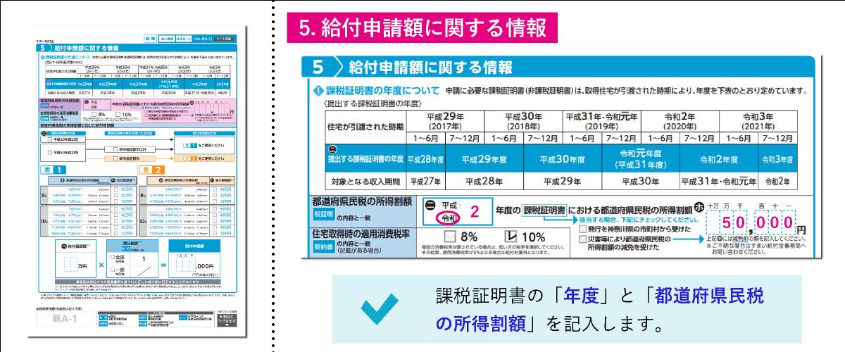 すまい給付金給付申請書「5.給付申請額に関する情報」の都道府県民税の所得割額