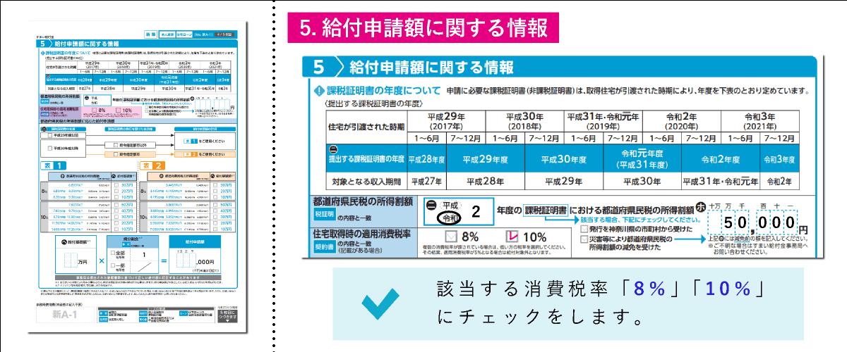 すまい給付金給付申請書「5.給付申請額に関する情報」の住民取得時の適用消費税率